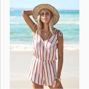 Rip Curl White and Red Striped Romper